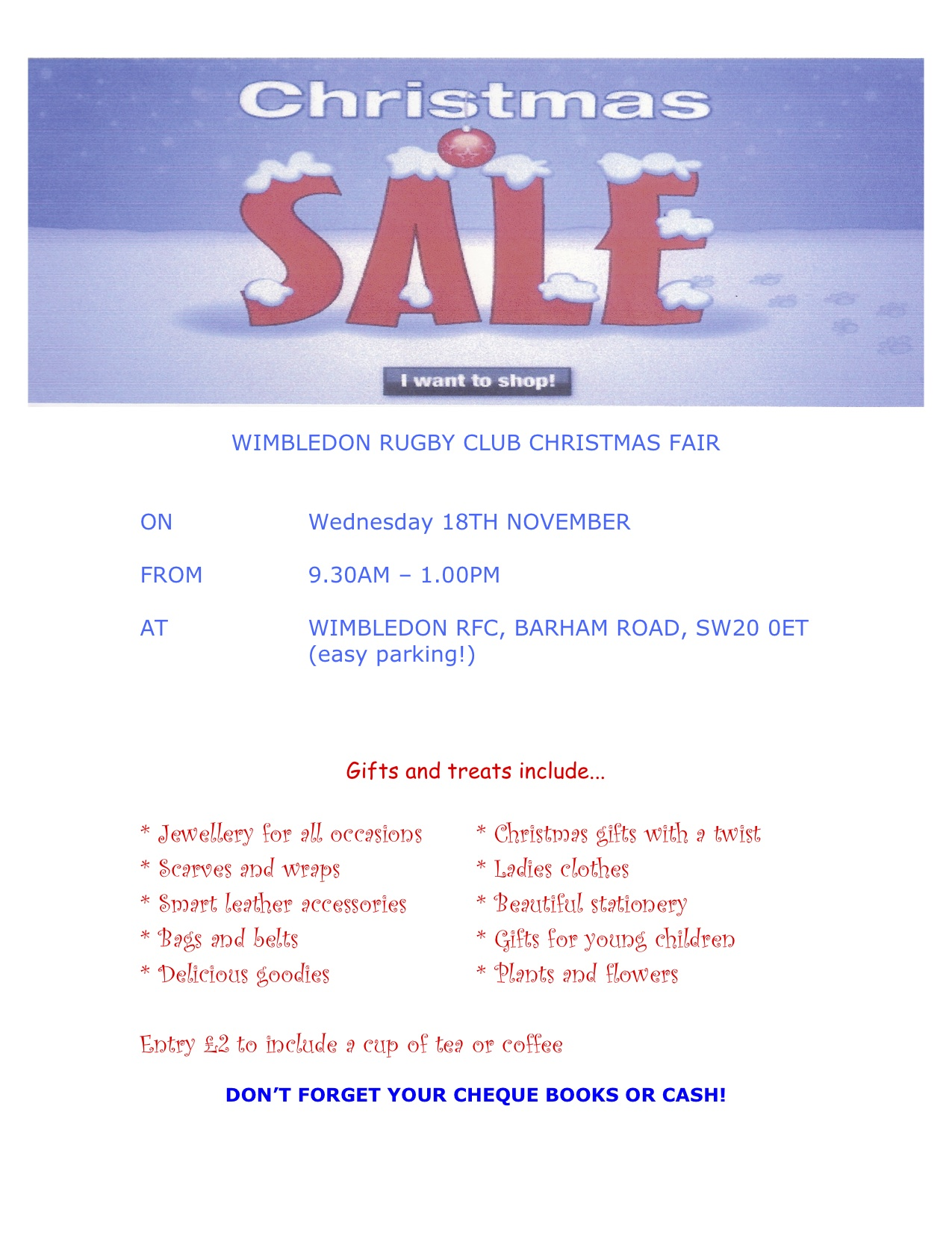 WIMBLEDON RUGBY CLUB CHRISTMAS FAIR,<br /> Wednesday 18TH NOVEMBER, 9.30AM – 1.00PM